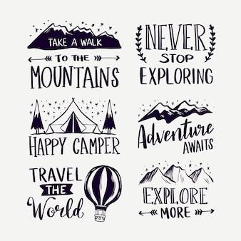 Conjunto de letras de camping y aventuras.