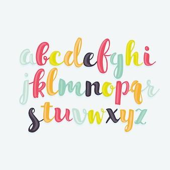 Conjunto de letras coloridas en forma de burbuja