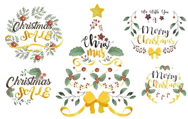 Conjunto de letras y decoraciones navideñas
