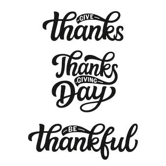 Conjunto de letras del día de acción de gracias