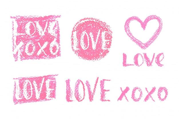 Conjunto de letras para el día de san valentín.