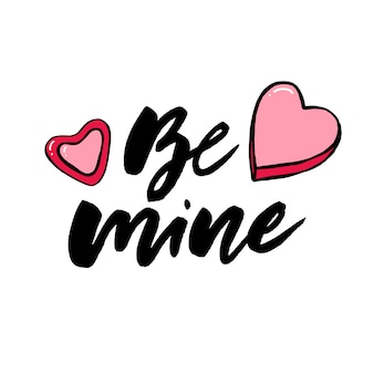 Conjunto de letras dibujadas a mano con frases románticas.