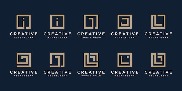 Conjunto de letras de diseño de logotipo i, j y l con estilo cuadrado.