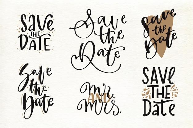 Conjunto de letras elegantes de boda