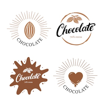 Conjunto de letras escritas a mano chocolate con grano de cacao.