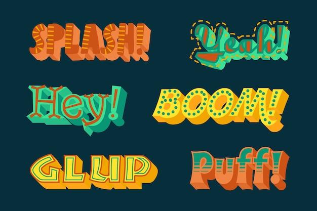 Conjunto de letras de expresiones de estilo retro