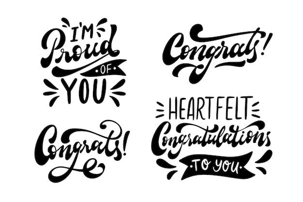Conjunto de letras de felicitación