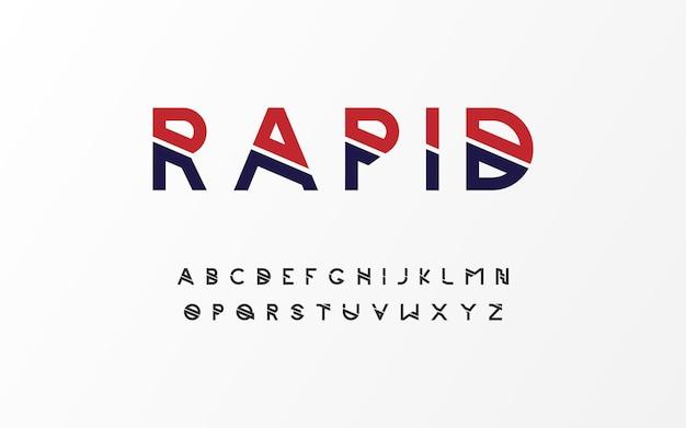 Conjunto de letras de fuentes de tecnología creativa de alfabeto moderno mínimo