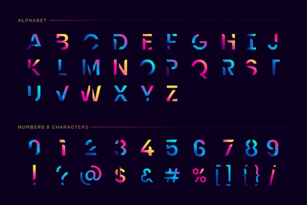 Conjunto de letras futurista de moda