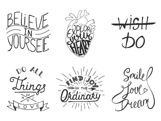 Conjunto de letras inspiradoras y motivacionales vectoriales