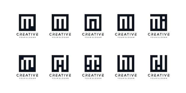Conjunto de letras de logotipo creativo m con estilo cuadrado