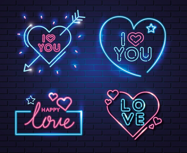 Conjunto de letras de luz de neón para el día de san valentín