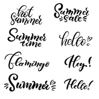 Conjunto de letras de la mano sobre el verano.