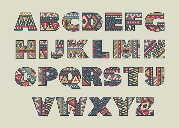 Conjunto de letras mayúsculas ornamentadas con patrones africanos étnicos abstractos
