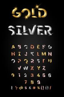 Conjunto de letras metalicas de moda.