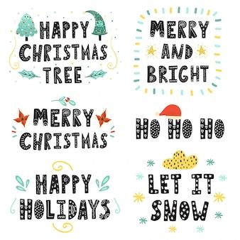 Conjunto de letras de navidad colección de citas dibujadas a mano