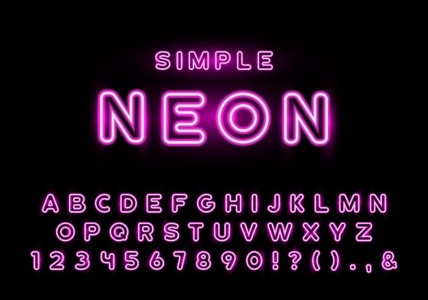 Conjunto de letras de neón rosa simple, tipografía de neón nocturno