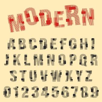 Conjunto de letras y números de diseño de líneas modernas.