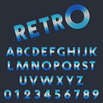 Conjunto de letras y números de diseño retro.