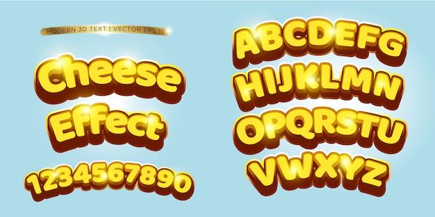 Conjunto de letras de queso y cómic 3d
