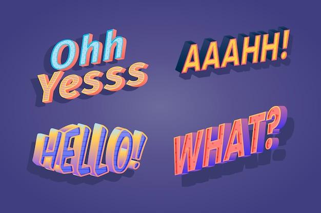 Conjunto de letras retro de expresiones