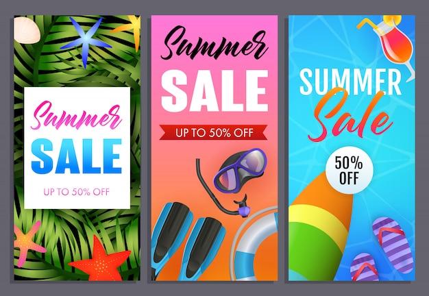 Conjunto de letras para la venta de verano, chanclas, tabla de surf y máscara de buceo.