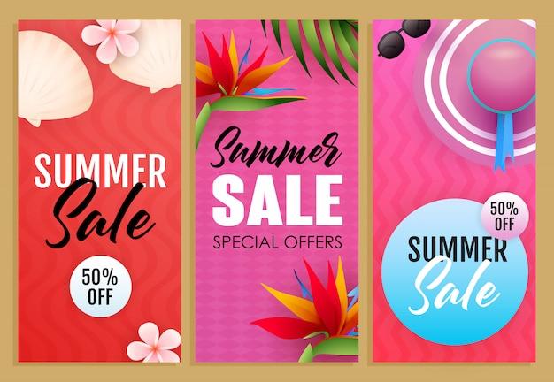 Conjunto de letras de venta de verano, plantas exóticas, sombrero de playa.