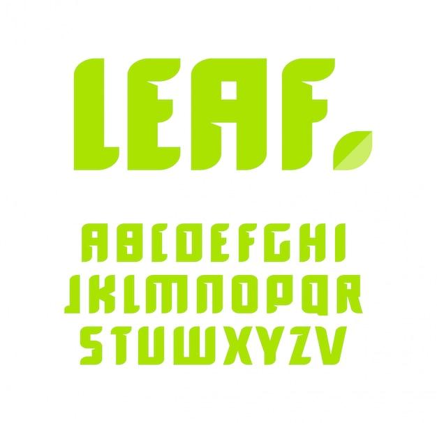 Conjunto de letras verdes. alfabeto latino.