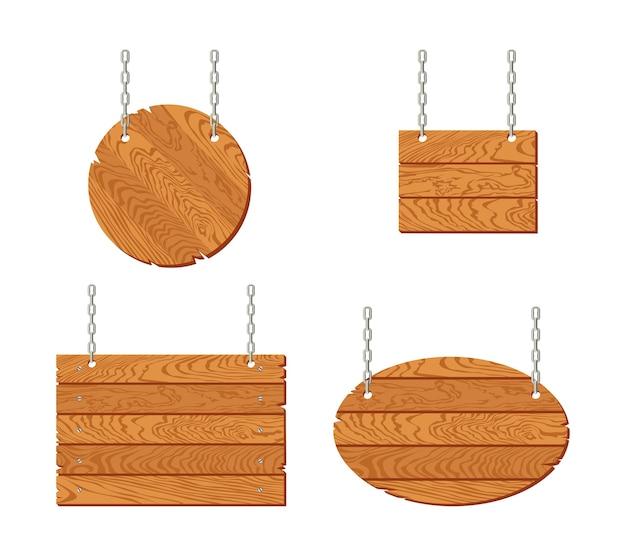 Conjunto de letrero de madera colgando de cadenas