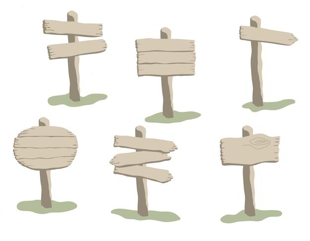 Conjunto de letrero de madera desgastada de estilo de dibujos animados