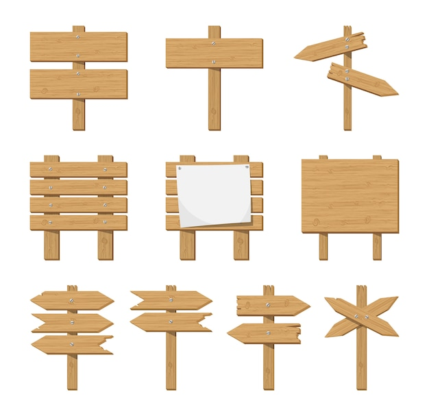 Conjunto de letrero de madera y señal de tráfico.