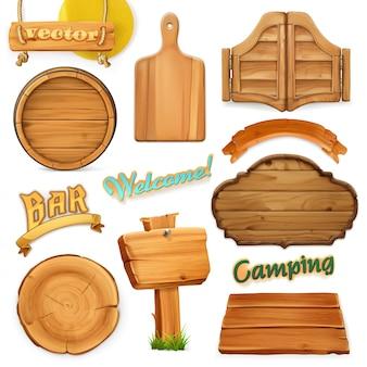 Conjunto de letrero de madera.
