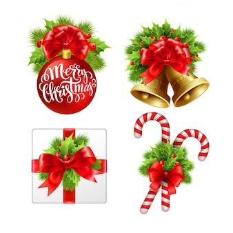 Conjunto de letrero de navidad, tarjeta de felicitación