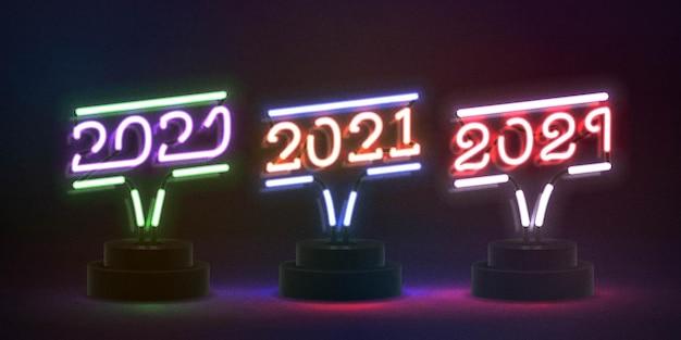 Conjunto de letrero de neón aislado realista del año nuevo 2021