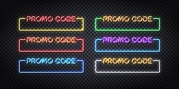 Conjunto de letrero de neón aislado realista del logotipo del marco del código promocional.