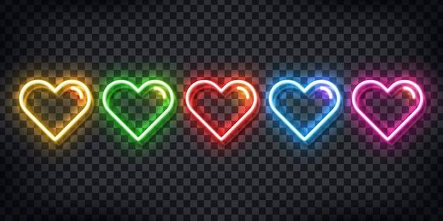 Conjunto de letrero de neón realista de corazones de colores para la decoración de la plantilla y el diseño que cubre el fondo transparente.