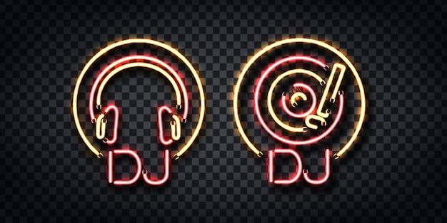 Conjunto de letrero de neón realista de dj para decoración de plantillas y diseño en el fondo transparente.