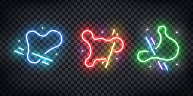 Conjunto de letrero de neón realista de forma geométrica abstracta azul, verde y roja para un sitio web moderno y gráfico líquido en el fondo transparente.