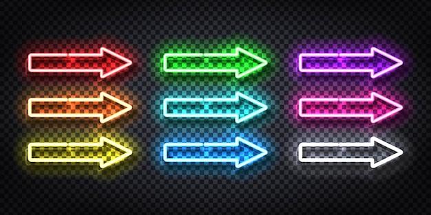 Conjunto de letrero de neón realista del logotipo de flecha