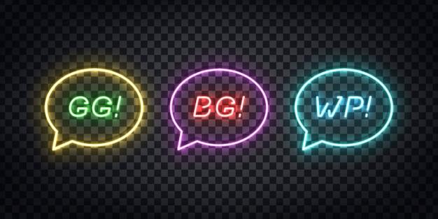 Conjunto de letrero de neón realista del logotipo de gg, bg, wp para la decoración de la plantilla y la cubierta de diseño en el fondo transparente. concepto de jerga de juegos.