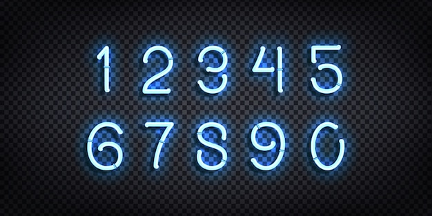 Conjunto de letrero de neón realista del logotipo de números para la decoración de la plantilla y el diseño que cubre el fondo transparente.