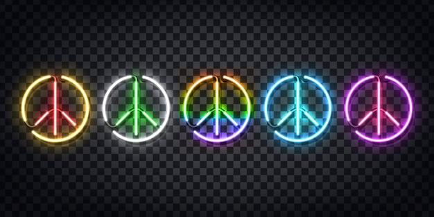 Conjunto de letrero de neón realista del logotipo de la paz para decoración y revestimiento en el fondo transparente. concepto de feliz día internacional de la paz.