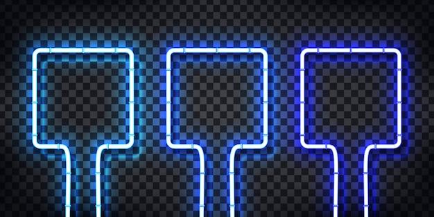 Conjunto de letrero de neón realista de marco con colores azules para plantilla y diseño en el fondo transparente.