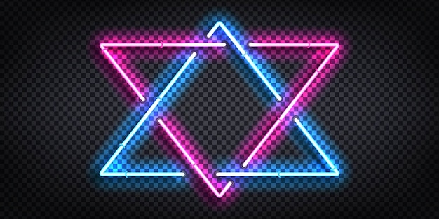 Conjunto de letrero de neón realista de marco triangular para plantilla y diseño.