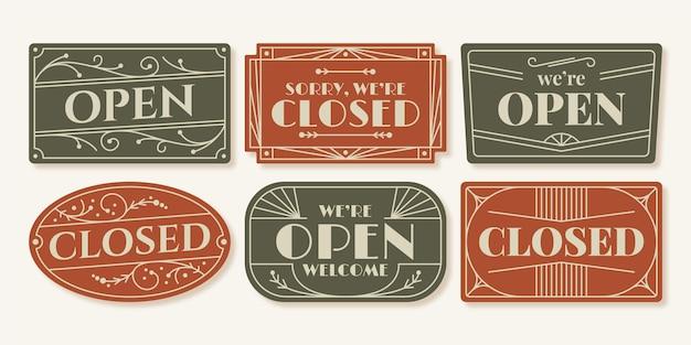Conjunto de letreros abiertos y cerrados. vector gratuito