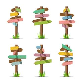 Conjunto de letreros de flecha de madera color en blanco
