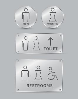 Conjunto de letreros de inodoro icono de baño de hombres y mujeres signo placas de vidrio círculo y forma cuadrada