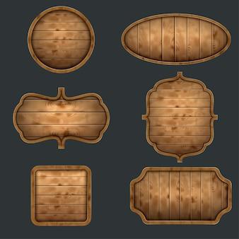 Conjunto de letreros de madera de alta calidad.