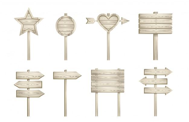 Conjunto de letreros de madera claros