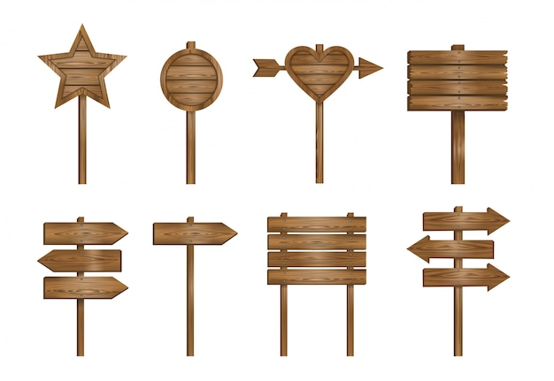 Conjunto de letreros de madera